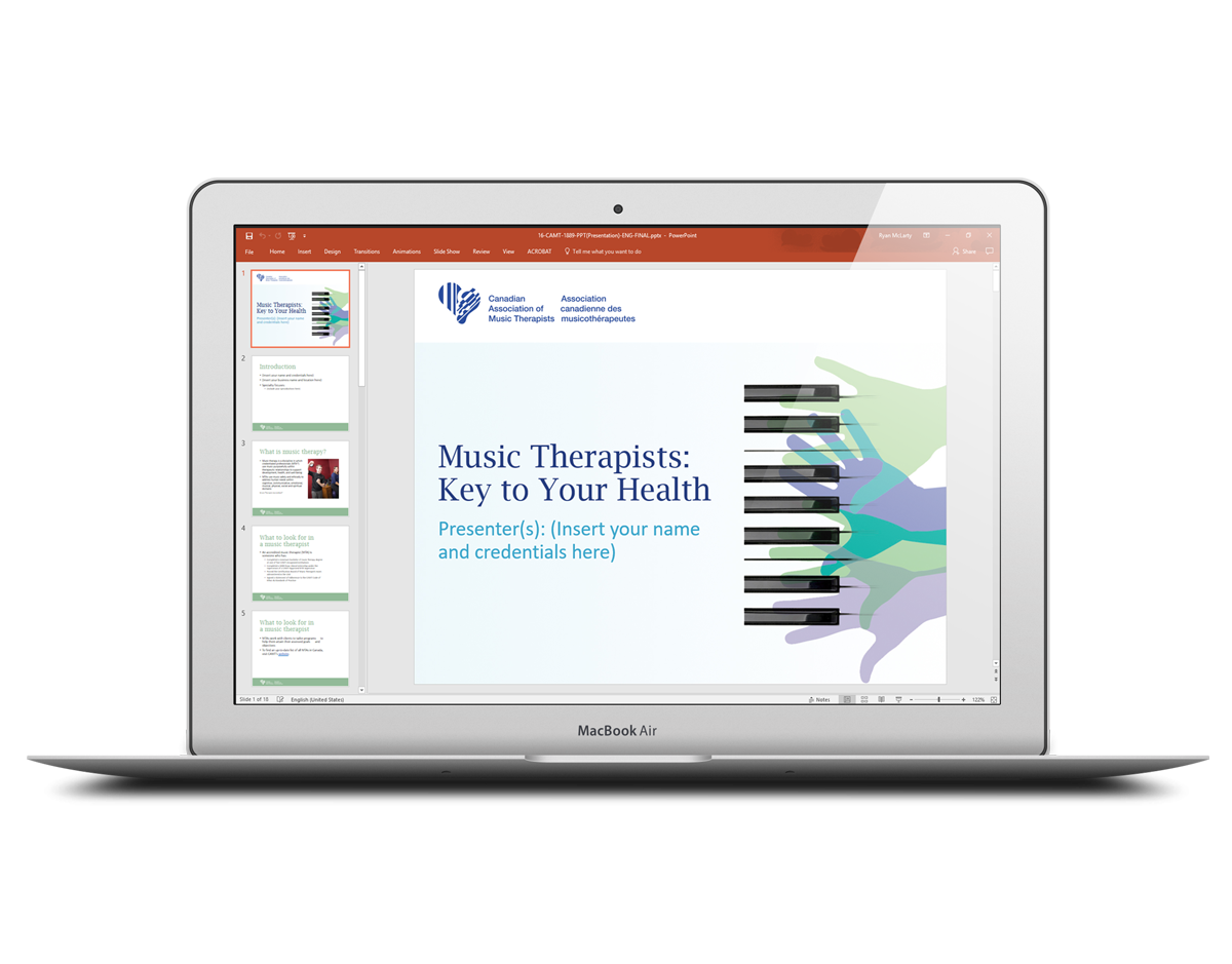 Canadian Association of Music Therapists branded PowerPoint Template on a MacBook laptop.