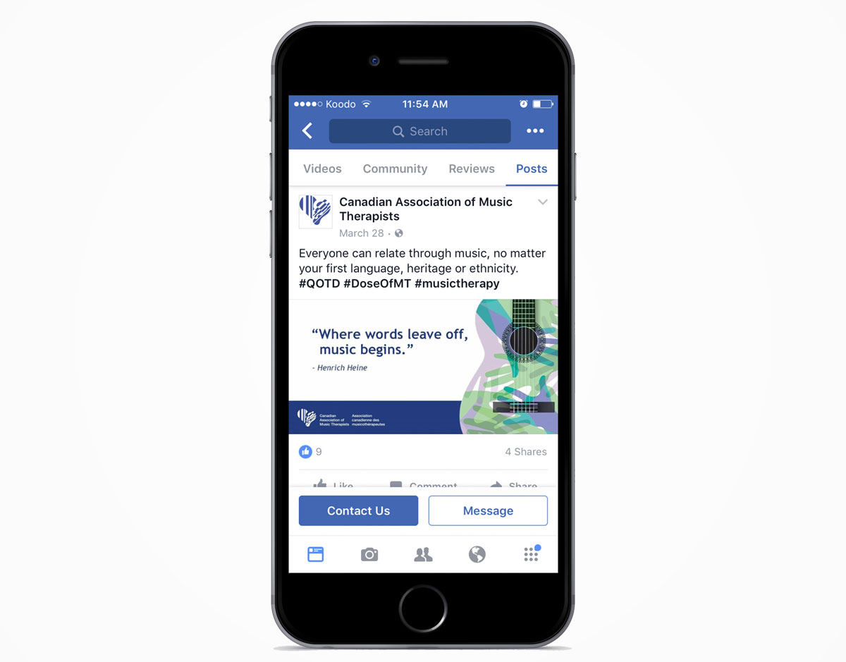 An iPhone displaying a Facebook post on the Canadian Association of Music Therapist fan page.