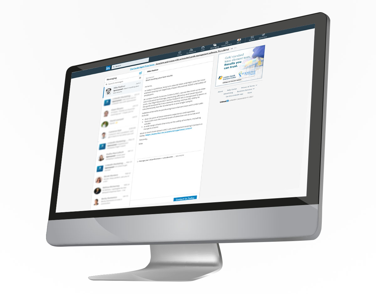 A desktop computer displaying a LinkedIn Sponsored InMail campaign and companion banner for London Health Science Centre's Pathology and Laboratory Medicine.