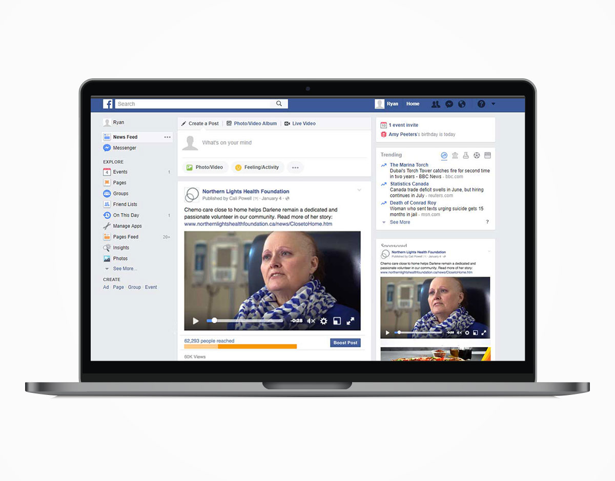Laptop displaying a News Feed and side bar Facebook advertisement of a Northern Lights Health Foundation video, a type of online marketing service.