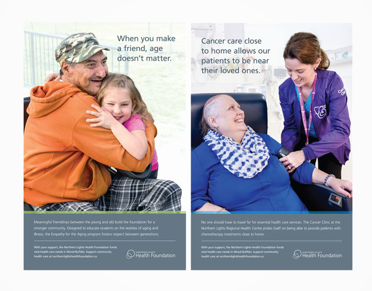 Two posters highlighting programs at Northern Lights Regional Health Centre that were used during Northern Lights Health Foundation's Gratitude Campaign.