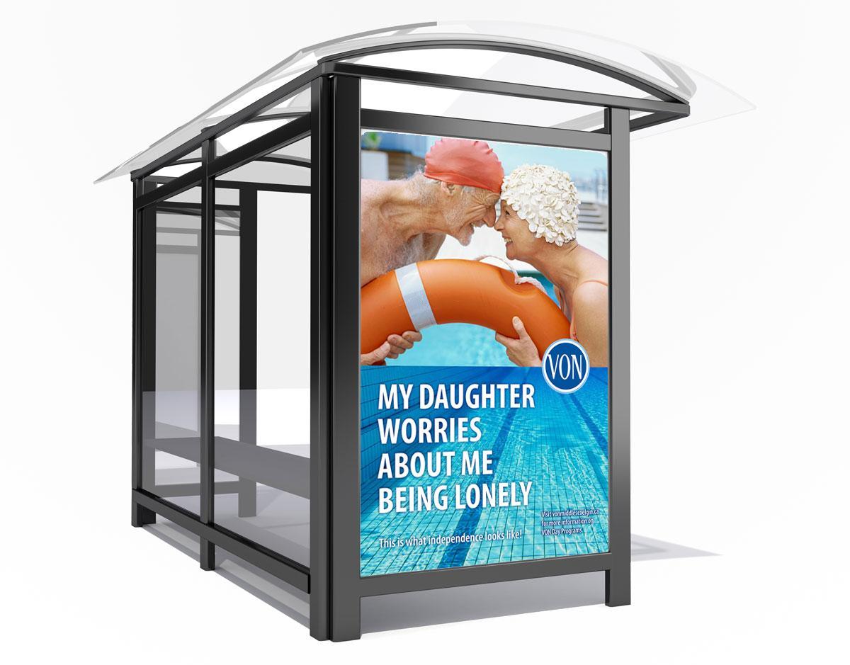 A VON bus shelter advertisement, a type of traditional advertising service